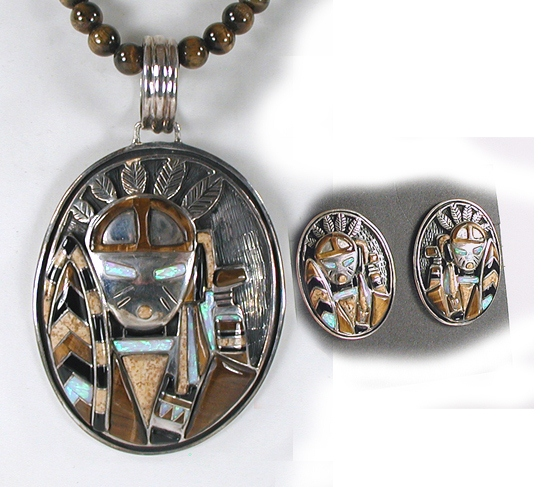 Inlay Pendant, Necklace and Earrings Set