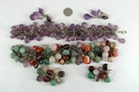 Bargain Barn Lot of Two Gemstone Bracelet and Clip Earrings Sets