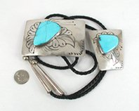 Bargain Barn Vintage sterling silver and turquoise bolo and belt set