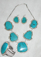 Bargain Barn sterling silver and turquoise necklace and earrings set