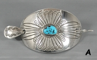 Authentic Native American Navajo Sterling Silver and turquoise stick Barrette by Joanne Silver