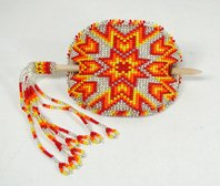 Authentic Lakota Sioux hand beaded leather lined stick barrette