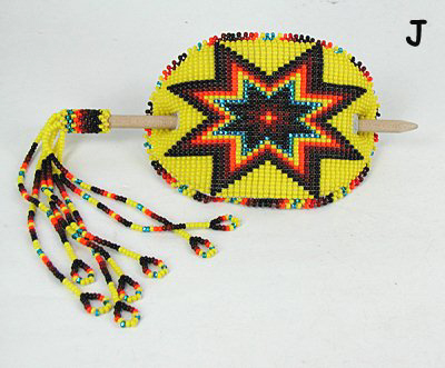 Authentic Native American Stick Barrette Hand Beaded Pine