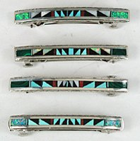 Sterling Silver and multi-stone inlay barrette