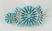 Native American petit point turquoise hair stick barrette by Navajo Zeita Begay