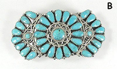Native American Petit Point Turquoise Hair Barrette By