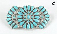 Native American petit point turquoise hair barrette by Navajo Zeita Begay