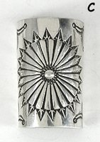 Authentic Native American stamped Sterling Silver Pony Tail Shield by Navajo Jenny Blackgoat