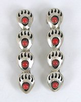 one pair sterling silver and coral Bear Paw Shadowbox barrettes