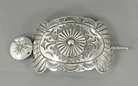 Authentic Native American sterling silver stick barrette by Navajo silversmith Arnold Blackgoat