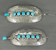 Authentic Native American sterling silver stick barrette by Navajo silversmith Darlene ThomasAuthentic Native American sterling silver stick barrette by Navajo silversmith Darlene Thomas