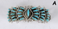 sterling silver turquoise Needle Point Pony Tail Clasp