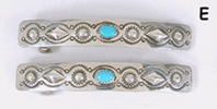 one pair stamped repousse sterling silver and turquoise barrettes