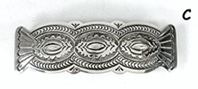 Authentic Native American sterling silver stamped repousse barrette by Navajo artist Arnold Blackgoat