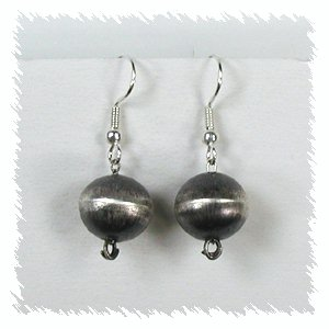 Hand Made Native American Indian Jewelry Navajo Sterling Silver Beads With Matching Earrings