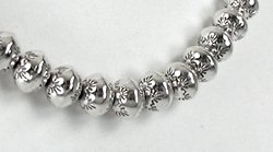 Hand Made Native American Indian Jewelry Navajo Sterling Silver Bead Necklace