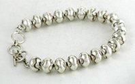 adjustable stamped Sterling Silver bead bracelet