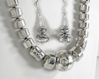 Authentic Native American Sterling Silver Stamped bead necklace and earrings by Navajo Sofia Becenti