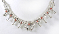 Sterling Silver and coral  miniature squash blossom necklace choker 16 inch