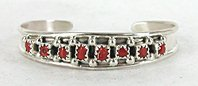 Authentic Native American Navajo Sterling Silver and coral baby bracelet by Elton Cadman
