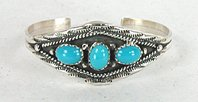 Authentic Native American Navajo Sterling Silver and turquoise Baby Child Youth Bracelet by R.W. James