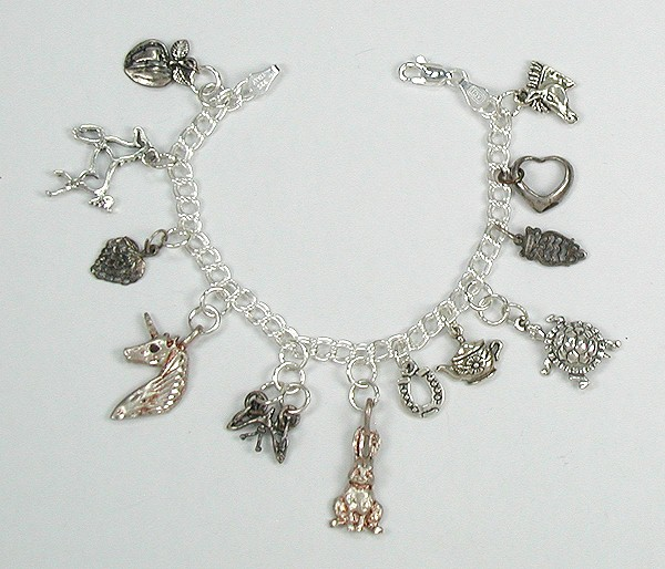 Charm Bracelet Navajo And Zuni Charms Sterling Silver Curb