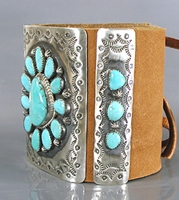 Authentic Native American sterling silver and turquoise ketoh leather cuff bowguard by Navajo artist Daniel Martinez
