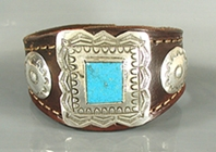 Authentic Native American sterling silver and turquoise snap leather cuff by Yaqui artist Art Tafoya