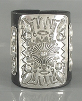 Authentic Native American sterling silver ketoh leather cuff bowguard by Navajo artist Art Tafoya