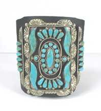 sterling silver and turquoise ketoh leather cuff bowguard