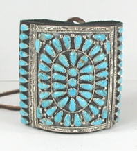 Authentic Native American sterling silver and Sleeping Beauty turquoise ketoh leather cuff bowguard by Navajo artist James Freeman