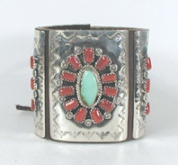 Authentic Native American sterling silver and Coral and turquoise ketoh leather cuff bowguard by Navajo artist Myron Yazzie