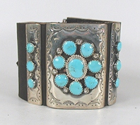Authentic Native American sterling silver and turquoise ketoh leather cuff bowguard by Navajo artist James Martin