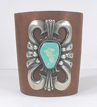 Authentic Native American sterling silver and turquoise ketoh leather cuff bowguard by Navajo artists Carol and Wilson Begay