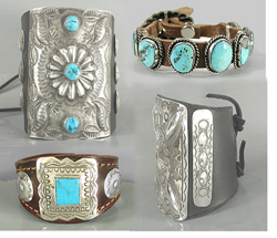 961de3b1cb0 Authentic Native American sterling silver and turquoise leather cuffs,  ketohs, bow guards, concho