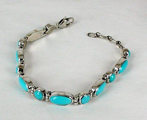 Native American Turquoise Link Bracelet Navajo Sterling
