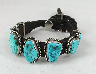 Turquoise Concho Bracelet Sterling Silver