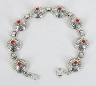 Authentic Native American Sterling Silver and Coral half bead link bracelet by Navajo Marie Yazzie