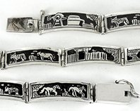 Authentic Native American Sterling Silver overlay Storyteller Link bracelet by Navajo Tillie Jon