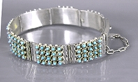 Authentic Native American sterling silver Turquoise Snake Eye Link Bracelet by Zuni Stephen Haloo