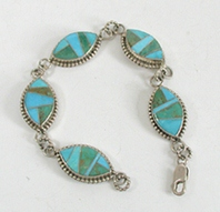 New Old Stock inlay bracelet Sterling Silver and turquoise by Zuni artist Emma Romancito