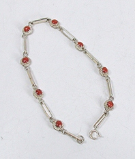 New Old Stock Delicate Coral and sterling silver  link bracelet