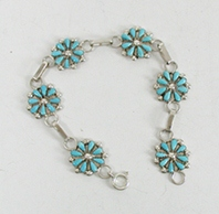 New Old Stock Petit Point bracelet Sterling Silver and turquoise by Zuni artists David and Sarita Leekity