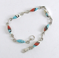New Old Stock inlay bracelet Sterling Silver turquoise, coral , jet, mother of pearl