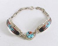 New Old Stock Inlay bracelet Sterling Silver and turquoise by Zuni artists Raylan and Patte Edaake