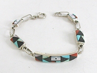 New Old Stock Zuni sterling silver and stone Inlay bracelet