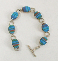 New Old Stock Inlay bracelet Sterling Silver and Rainbow Calsilica link bracelet
