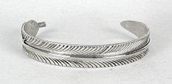 Native American Navajo Sterling Silver Feather Bracelet