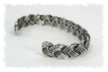 Authentic Native American Sterling Silver Braided Bracelet By Verna