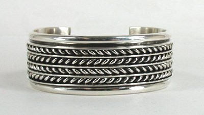 Authentic Native American Sterling Silver Cuff Bracelet By Navajo Tom Hawk